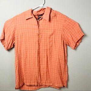 Haggar Men's Button-up Short XL Orange
